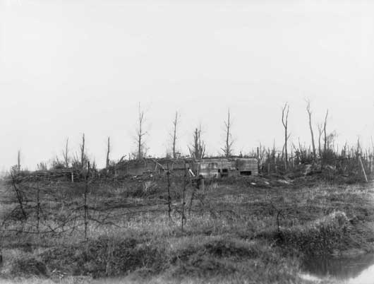 A view of the concrete blockhouses in the German third line on the Fromelles-Aubers Ridge (AWM E03969).