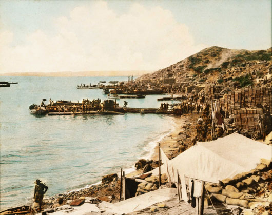 A view of Anzac Cove looking north toward New Zealand Point (AWM P01130.001).