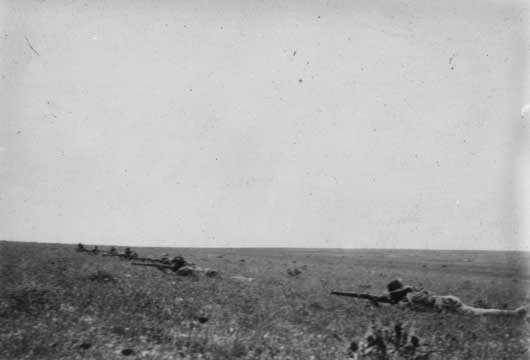 The firing line of 'B' Squadron, 9th Australian Light Horse Regiment, during the Second Battle of Gaza (AWM A00223).