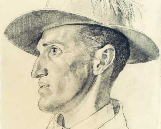 "George Lambert's portrait entitled ""Captain Hugo Throssell"", a Victora Cross recipient of the 10th Australian Light Horse Regiment (AWM ART02797)."