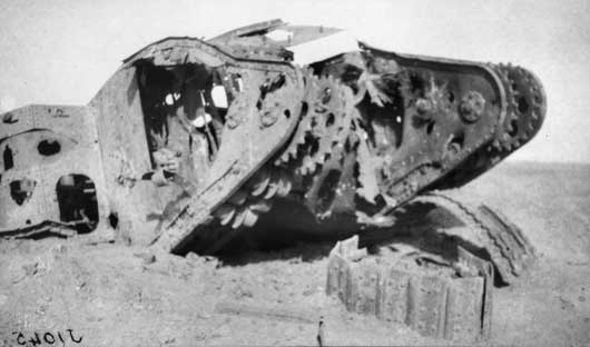 A burnt out tank that was lost to the Australians during the Second Battle of Gaza (AWM J01045).