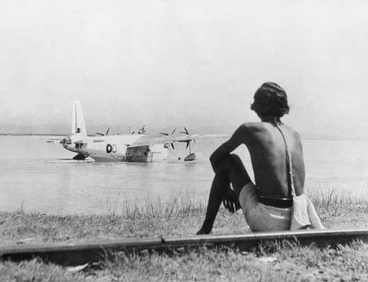 An RAF Sunderland aircraft operating in Burma at its base on the Brahmaputra River (AWM SUK13085).