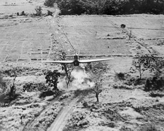 Japanese held strategic targets in Burma were pounded night and day by RAF aircraft (AWM SUK13215B).