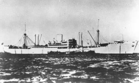 The German auxiliary cruiser Kormoran, which sank the HMAS Sydney during action off the West Australian coast (AWM 053867).