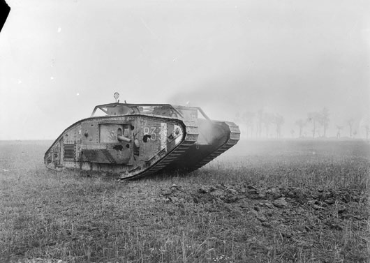 A British heavy tank, put out of action near Bayonvillers by a direct hit at point blank range (AWM E03891).