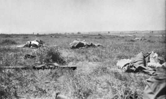 The dismal scene after an attack by the 2nd Infantry Brigade at Krithia (AWM C01079).