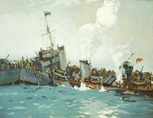 "Frank Norton, ""Vale Waterhen (Sinking of HMAS Waterhen)"" (AWM ART22327)."