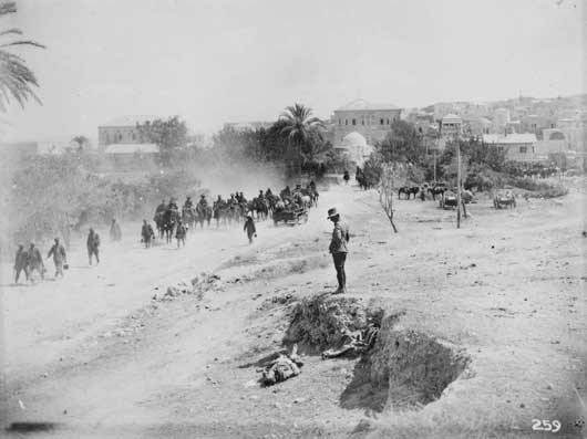 The town of Jenin on the morning after its capture by the 3rd Light Horse Brigade (AWM B00259).