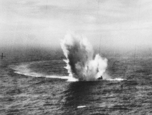 A German U-boat is sunk in the North Atlantic by a Coastal Command Liberator of 120 Squadron RAAF (AWM SUK11338).
