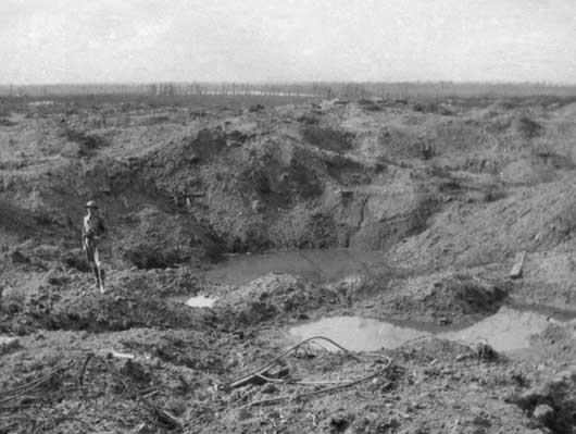 Looking from an old crater on the north side of Hill 60, over shell-pitted ground towards Zillebeke Lake (AWM E01911).