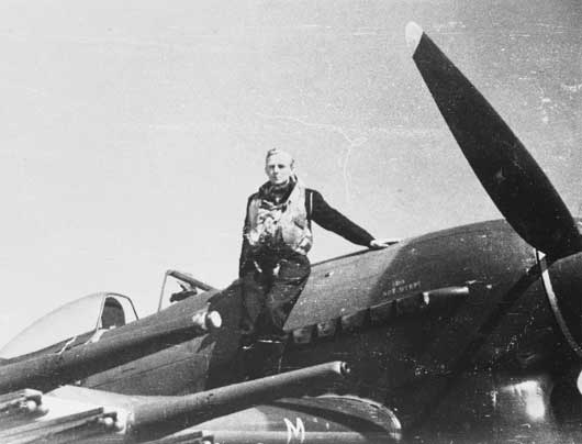 Pilot Officer Donald William Mason RAAF was shot down near the village of Boulon, where his body remained undisturbed in the fuselage of his Hawker Typhoon until 1992 (AWM P01899.002).