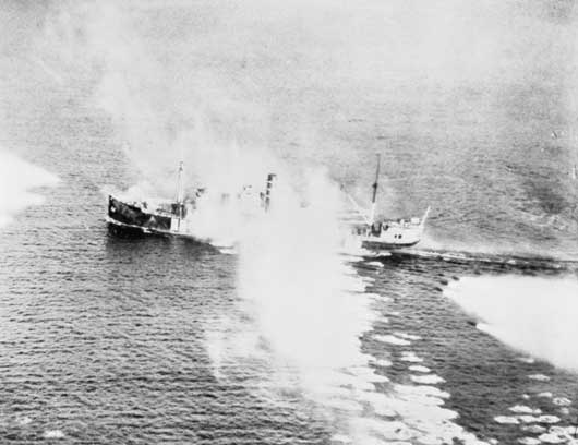 Enemy shipping under attack from Beaufighter aircraft of 455 Squadron RAAF in Stav Fjord, Norway (AWM 138202).