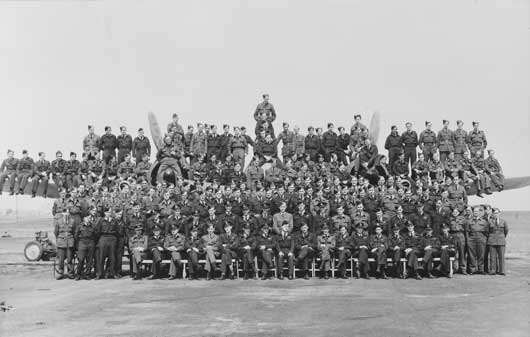 A group portrait of all members of 455 Squadron RAAF, assembled on and in front of one of the squadron's Bristol Beaufighter aircraft (AWM P01704.001).
