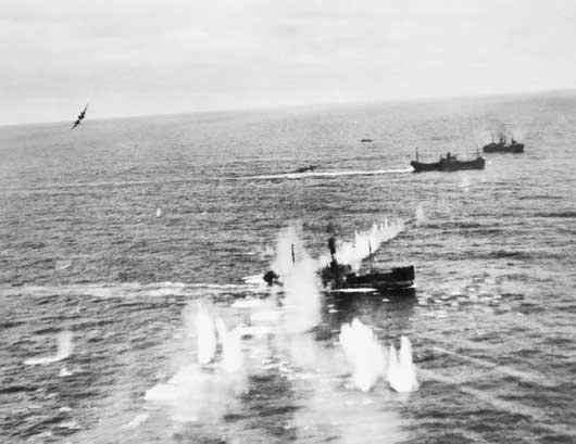 Beaufighter aircraft of 455 Squadron attacking a convoy of German shipping off the Frisian Islands (AWM SUK12224).