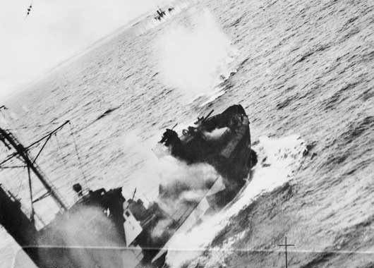 Armed trawlers in an enemy convoy being attacked by Beaufighters of RAF Coastal Command, which included aircraft of 455 Squadron RAAF (AWM SUK12403).