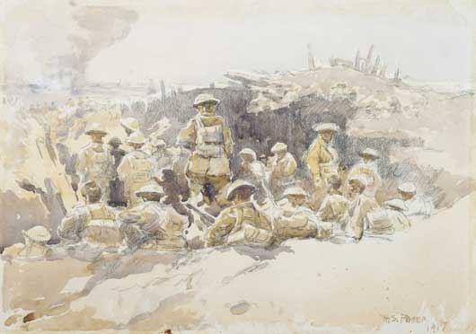 Artwork by H Septimus Power entitled 'Reserves in the trenches' (AWM ART03310).