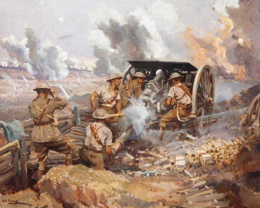 Artwork by H Septimus Power entitled 'The gunners, France' (AWM ART09100).