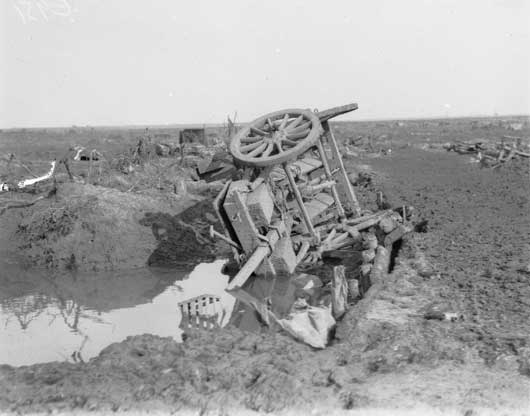 A wrecked limber, one of many similar scenes on the Ypres-Zonnebeke Road (AWM E00951).