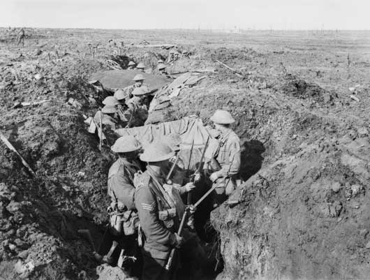 The 30th Battalion in forward area trenches near Zonnebeke, in the Ypres sector (AWM E01402).