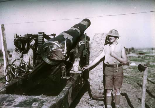 A camouflaged 8-inch No. 2 gun of the 1st Australian Siege Battery (AWM P03631.169).