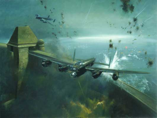 "Frank Wootton, ""617 Squadron raid on the Mohne Dam, 16 May 1943"" (AWM ART40896)."