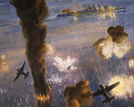 "Dennis Adams, ""HMAS Australia in action, Guadalcanal, 8 August 1942"" (AWM ART22189)."