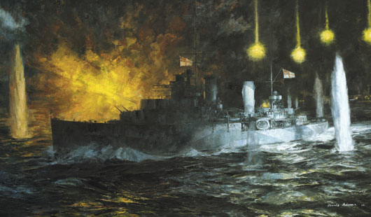 "Dennis Adams, ""HMAS Perth in the Battle of Sunda Strait"" (AWM ART27557)."