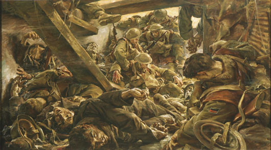 "Ivor Hele, ""Bardia (action leading to the fall of Post 11)"" (AWM ART27576)."