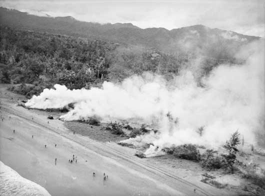 "Smoke billowing from targets set on fire by Beaufort Bomber aircraft of 8 and 100 Squadron RAAF, designed to ""smoke out"" the Japanese (AWM OG1589)."