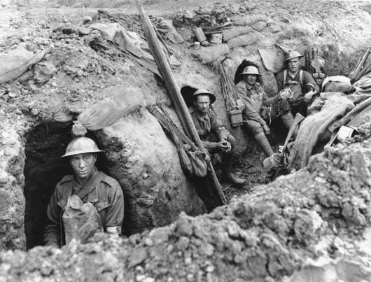 Medical details of the 45th Battalion sheltering in a trench at Anzac Ridge, in the Ypres Sector (AWM E00839).