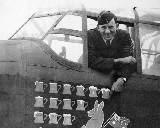 Crew of 467 Squadron RAAF recorded every raid in which they participated by painting a beer mug on their aircraft (AWM UK0189).
