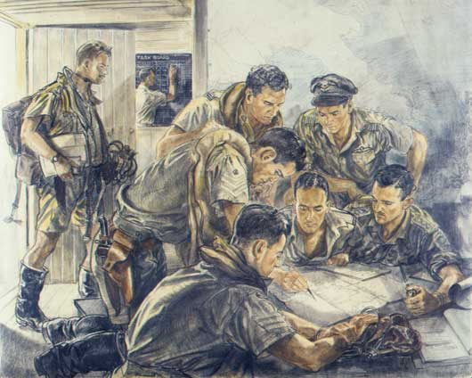 "Roy Hodgkinson, ""Interrogation scene (Squadron Leader Cuthbertson Learmonth, Captain Ray Hodgson, Flying Officer Harold Rowell, Flying Officer Vernon Hunt)"" (AWM ART22744)."