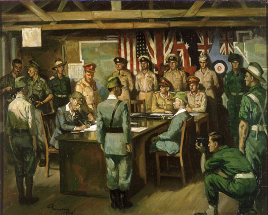 "Geoffrey Mainwaring, ""Surrender ceremony, Bougainville, 8 September 1945"" (AWM ART26675)."