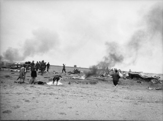 The remains of a German plane brought down by Bren gun fire in the riverbed north of Lariss (AWM 007625).