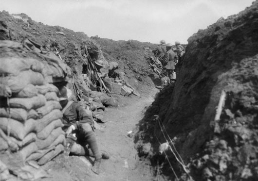 8th Battalion sentries in the western portion of the Hindenburg Line, captured fighting for Bullecourt (AWM E00439).