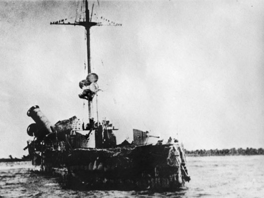 The wrecked German cruiser Emden, run ashore on a reef at North Keeling Island after her encounter with HMAS Sydney (AWM EN0471).