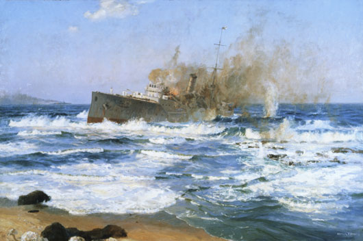 "Arthur Burgess, ""'Emden beached and done for', 9 November 1914"" (AWM ART00191)."