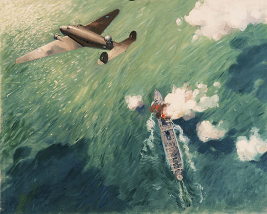 An artwork depicting a Lockheed Hudson of 6 Squadron RAAF scoring a direct hit on a Japanese seaplane tender south of New Britain (AWM ART25914).