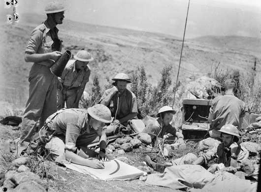 "The command post of ""D"" Troop, 12th Battery of the 2/6th Field Regiment during action against the French in the Merdjayoun sector (AWM 008195)."