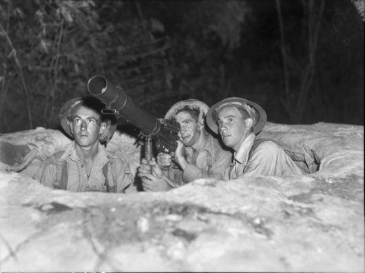 A machine gun crew on anti-aircraft duty in the Darwin area, 1942 (AWM 012741).