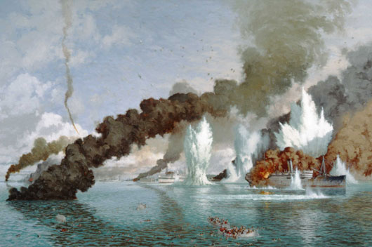 Artwork by Ray Honisett depicting a Japanese air raid on Darwin Harbour (AWM ART28520).