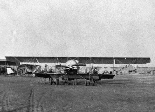 A Caudron G III aircraft piloted by Lieutenant G.P. Merz leaving Basra for the attack on Nasiriyah (AWM A02263).