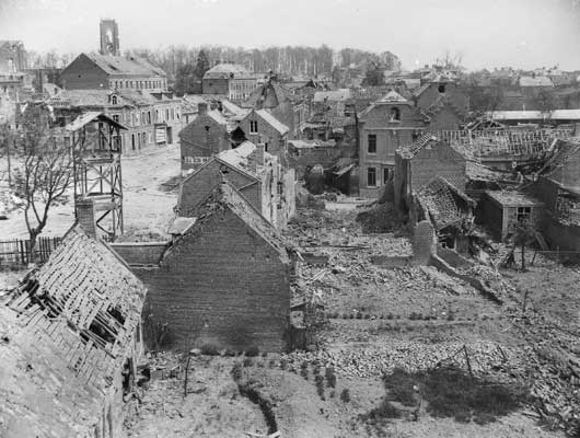 The ruined buldings as seen from the window of the South Chateau, in the area that was recaptured by the 13th and 15th Brigades (AWM E02154).