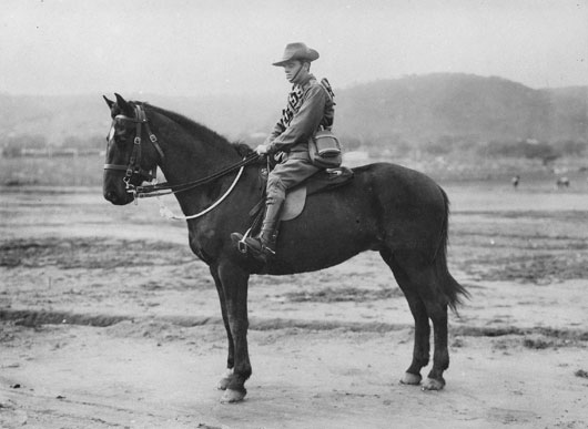 A portrait of Trooper Claude Michael Leahy of Victoria on horseback. He was killed in action on 31 October 1917 and buried at Beersheba (AWM P01280.001).